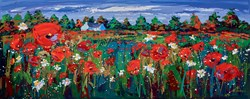 Poppies in the Barley, Ballancrieff by Lynn Rodgie - Original Painting on Stretched Canvas sized 40x16 inches. Available from Whitewall Galleries